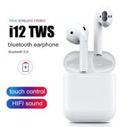 i12 TWS - Universal Bluetooth, Wireless Earbuds (With Charging Dock